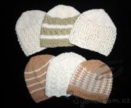 Pletené biobavlněné čepičky novorozenecké