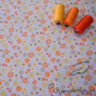 Hilco letní tkaná bavlna balónky a květy po 1/2 metrech