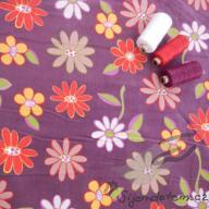 Košilový manšestr Hilco květy velké fialové - po 1/2 metrech