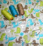 Wendy dinosauři tyrkys/limetka (oboulícní úplet)