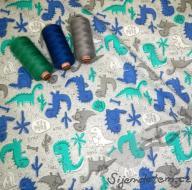 Wendy dinosauři modro/hnědí (oboulícní úplet)