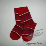 Ponožky biobavlněné dětské červený tenký proužek