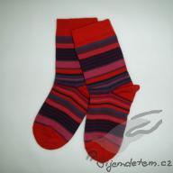 Ponožky vlněné dětské třešeň proužkovaná