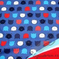 Wendy kočičí hlavičky na modré (oboulícní úplet)