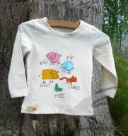 Biobavlněné triko s dlouhým rukávem malované