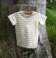 Biobavlněné tričko s krátkým rukávem pruhované