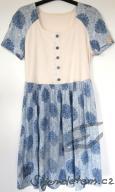 Šaty s knoflíčky biobavlna bylinná modré mandaly