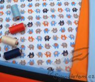 Wendy sloni modro-oranžoví na světle modré (oboulícní úplet)