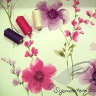 Design ŠD biobavlněný úplet květy akvarel