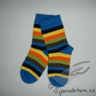 Ponožky biobavlněné dětské modré s barevným proužkem