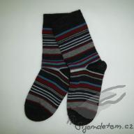 Ponožky vlněné dětské antracit proužkovaný