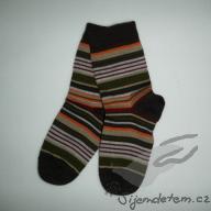 Ponožky vlněné dětské hořká čokoláda proužkované
