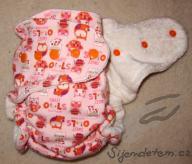 Jednovelikostní plenka Megerka - sweet hoot na baby růžové