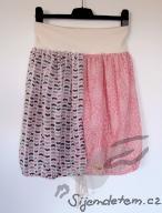 Sukně dvoubarevná biobavlna bylinná růžové lekníny a cikcak